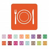 foto of knife  - The Plate dish with fork and knife icon - JPG