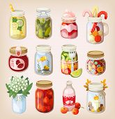 picture of mason  - Variety of mason jars with different items in them showing how to use it - JPG