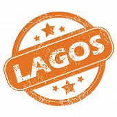picture of lagos  - Round rubber stamp with city name Lagos and stars - JPG