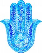 stock photo of middle finger  - vector watercolor hamsa illustration - JPG