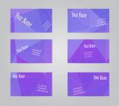 stock photo of visitation  - Set of six violet geometric visit cards - JPG