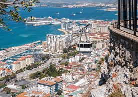 picture of gibraltar  - View of the city of Gibraltar and cable car close to the top of Gibraltar rock - JPG