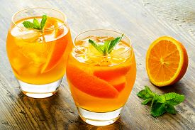 foto of cocktail menu  - Cold drinks with ice and mint - JPG