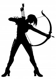 stock photo of bow arrow  - Illustration a fantasy woman archer with a bow and arrows or a horoscope symbol Sagittarius - JPG