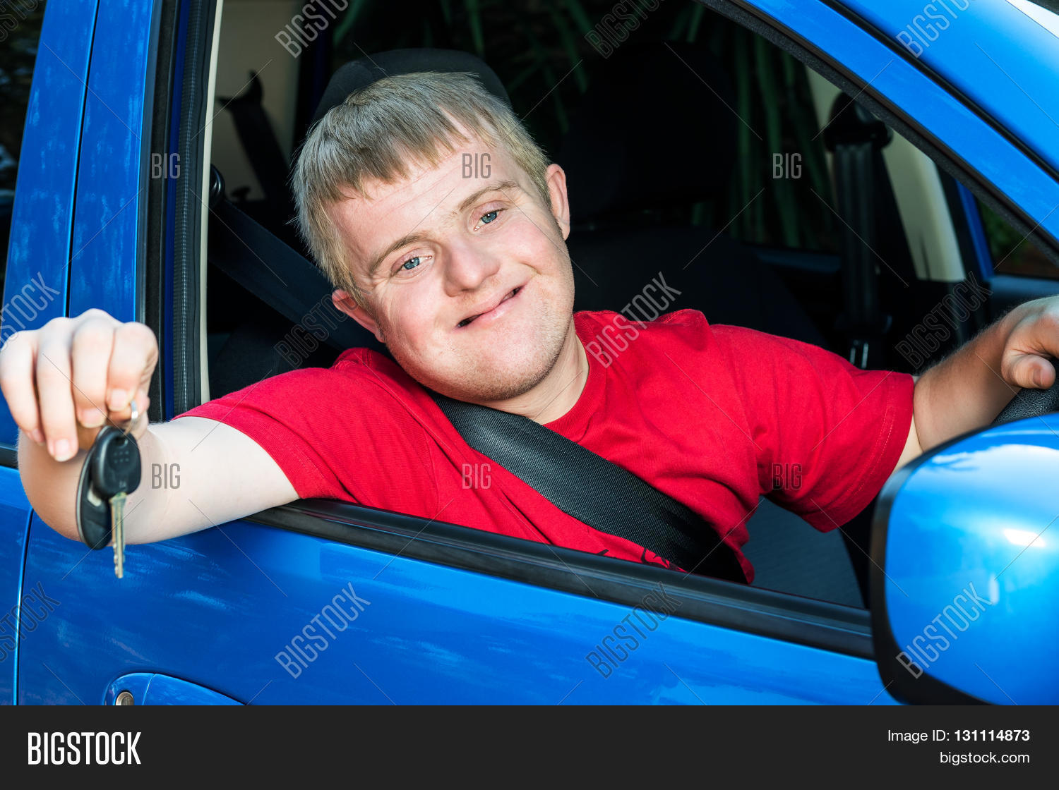close portrait young car driver image photo bigstock. Black Bedroom Furniture Sets. Home Design Ideas
