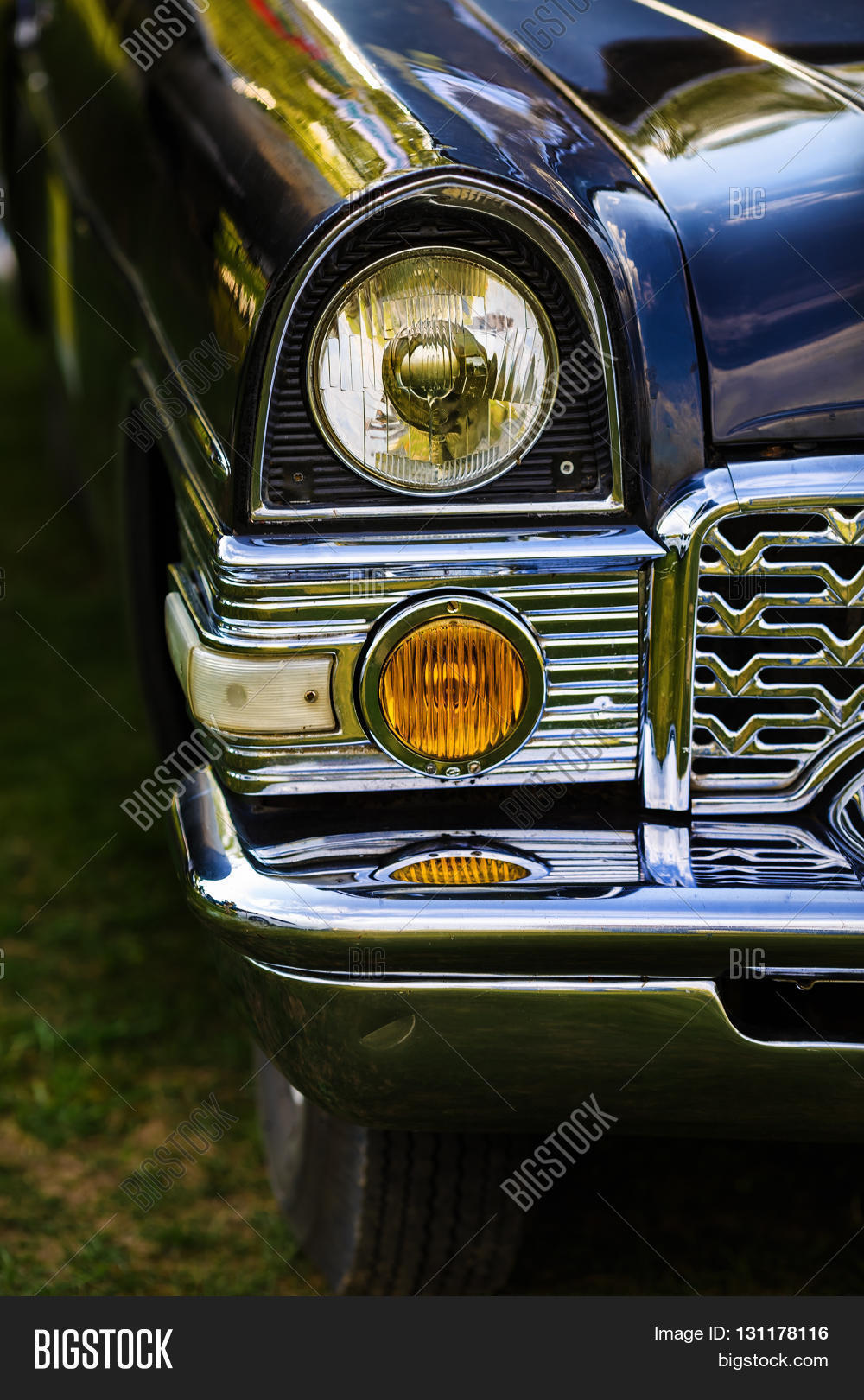 Vintage Automobile Front Center With One Headlight : Close headlights front part old image photo bigstock
