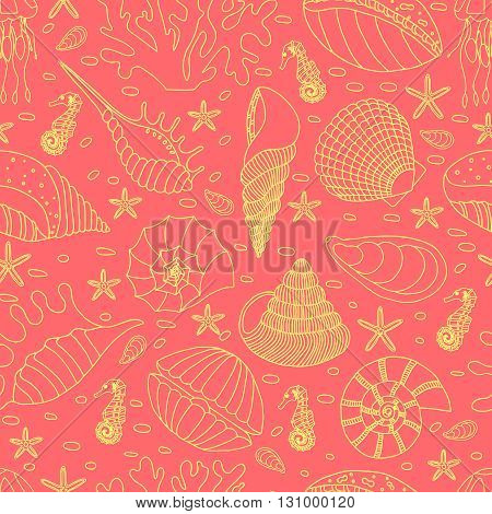 Wonderful vector seamless pattern of seashells, starfish and seahorses. Bright set painted by hand. To use postcards, greetings, prints on textiles and other creative products.