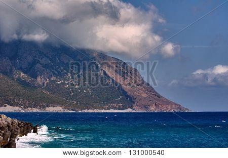 The mountainside on the sea coast on the island of Crete