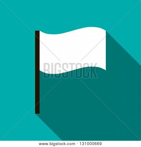 White flag icon in flat style on a turquoise background