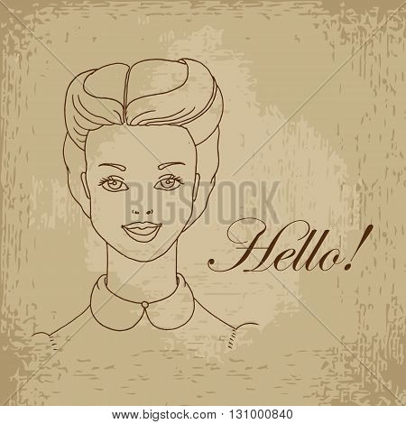 Face of smiling girl. hand drawn vector stock illustration