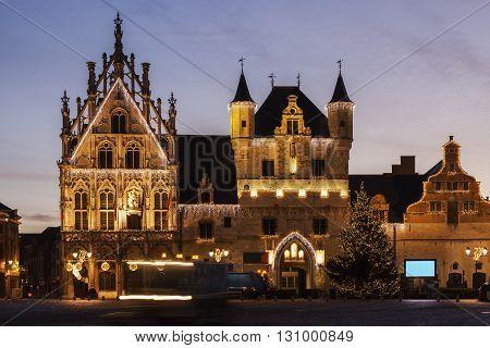 Mechelen City Hall seen at sunrise. Mechelen Flemish Region Belgium