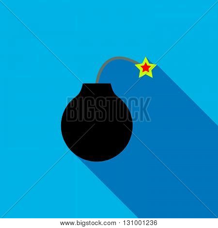 Bomb ready to explode icon in flat style on a blue background