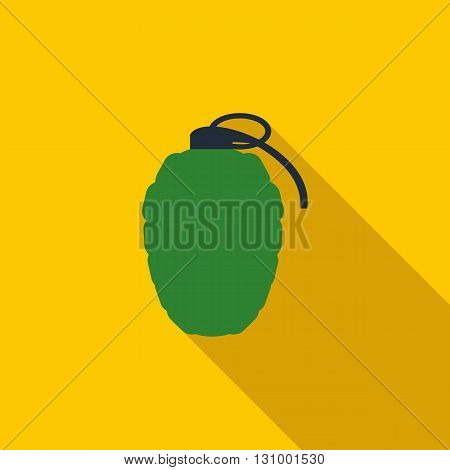 Hand grenade icon in flat style on a yellow background