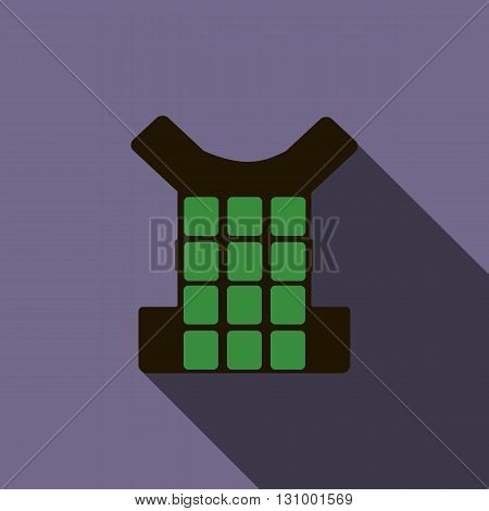 Green bulletproof vest icon in flat style on a violet background