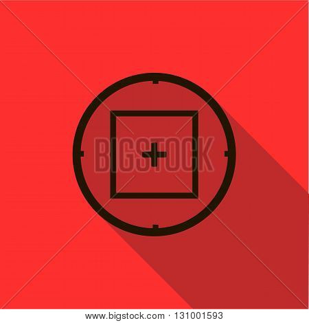 Optical sight icon in flat style on a red background