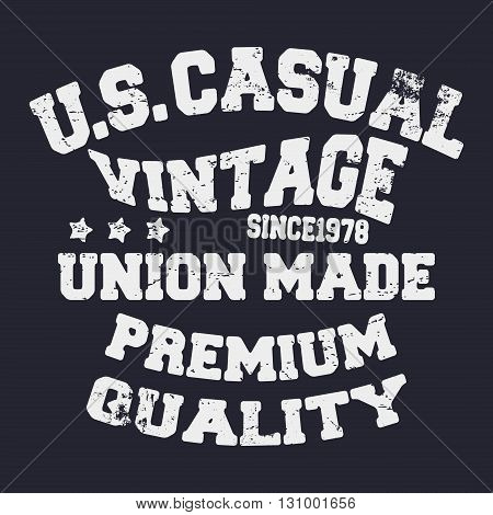 T-shirt print design. US casual vintage stamp. Printing and badge applique label t-shirts jeans casual wear. Vector illustration.