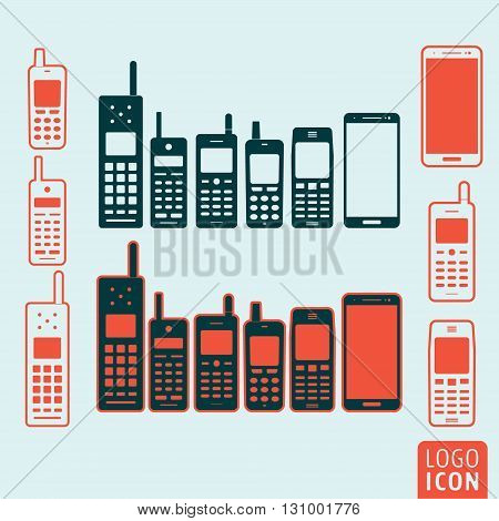 Mobile phone icon. Evolution cellphone vector illustration.