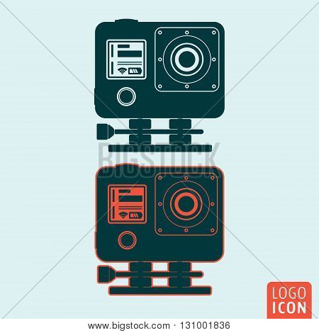 Action camera icon. Camera for filming extreme sport. Vector illustration.