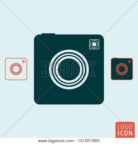 Retro camera. Photo camera icon. Vector illustration