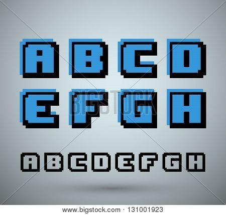 Pixel font alphabet old video game design. Letters A B C D E F G H. Vector illustration.