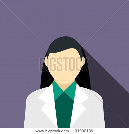 Girl brunette in a gray suit icon in flat style on a violet background