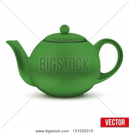 Green ceramic teapot. Vector illustration. Isolated of background.