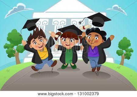 A vector illustration of happy students celebrating graduation