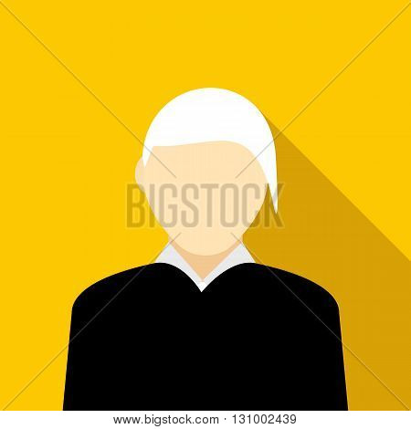 Woman with gray hair icon in flat style on a yellow background