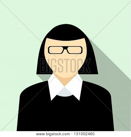 Woman with glasses in black pullover icon in flat style on a light blue background