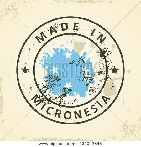 Grunge stamp with map flag of Micronesia - vector illustration