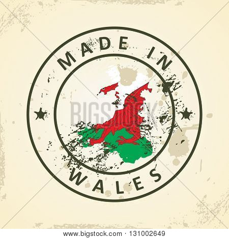 Grunge stamp with map flag of Wales - vector illustration