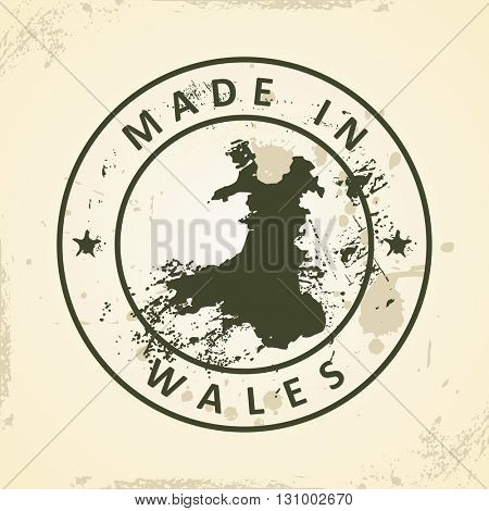 Grunge stamp with map of Wales - vector illustration