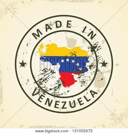 Grunge stamp with map flag of Venezuela - vector illustration