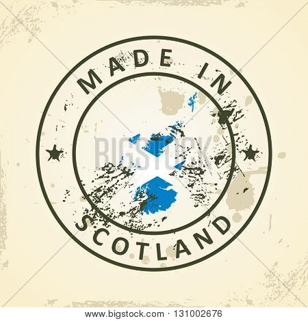 Grunge stamp with map flag of Scotland - vector illustration