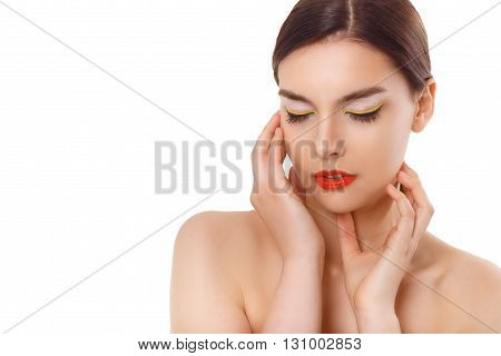 closeup portrait of a beautiful woman with beauty face and clean face skin , glamour makeup. White background. Makeup consept for cosmetics advertising.