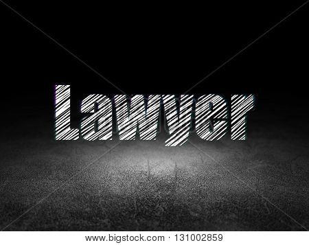 Law concept: Glowing text Lawyer in grunge dark room with Dirty Floor, black background