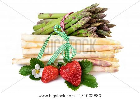 Asparagus bundle. Fresh healthy vegetables on white background.