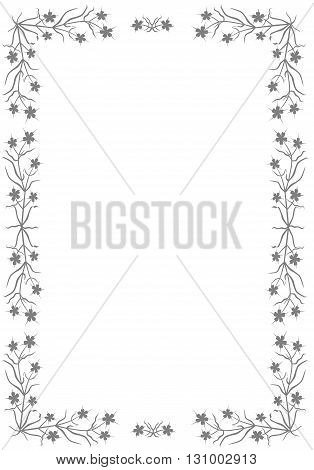 Gray border with flowers - vector illustration.
