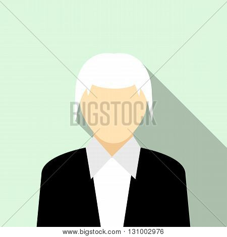 Woman with gray hair in a black suit icon in flat style on a light blue background