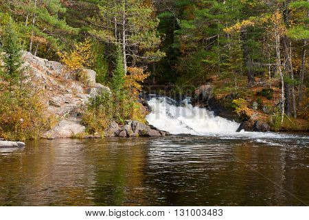 Twelve Foot Falls located on the Pike River in Marinette County Wisconsin USA