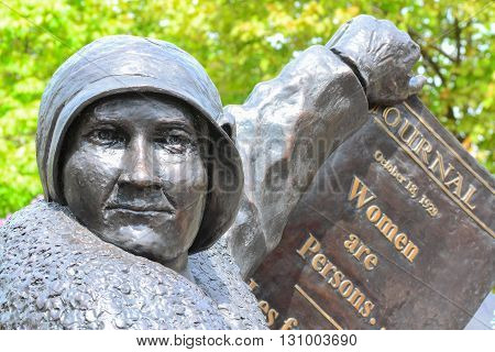 Woman right to vote monument at Parliament Hill in Ottawa Canada
