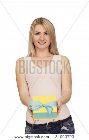 Young woman portrait holding gift on isolated background