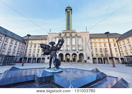 New City Hall in Ostrava and the fountain. Ostrava Moravian-Silesian Region Czech Republic.
