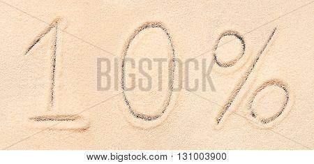 10 % Lettering Written On Sand