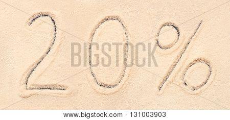 20 % Lettering Written On Sand