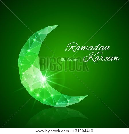 Glowing ornate crescent with bright flare and radiance in emerald shades. Greeting card of holy Muslim month Ramadan