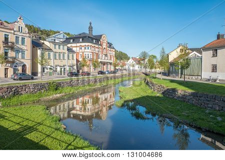 SODERKOPING, SWEDEN - MAY 11, 2016: Idyllic small town Soderkoping during spring. Soderkoping is a historic medieval town in Sweden.