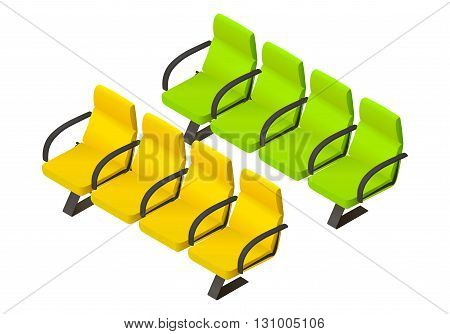Pair rows of armchairs flat vector 3d illustration isometric perspective view