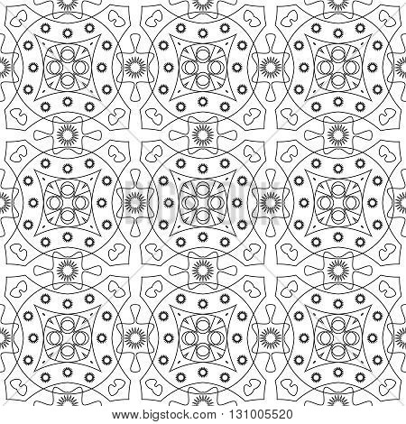 Monochrome repeating pattern of lines and abstract forms.