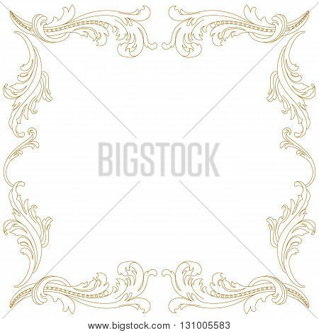 Golden Vintage baroque frame scroll ornament engraving border floral retro pattern antique style acanthus foliage swirl decorative design element filigree calligraphy vector | damask - stock vector